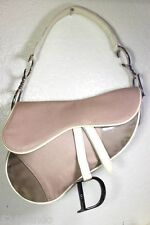 Vintage Christian DIOR Khaki Brown Laminated Canvas Saddle Shoulder Bag Small