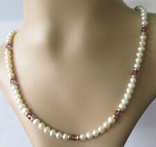 Gold Earrings Necklace - 9ct Yellow Gold Pearl & Amethyst Necklace & Earring Set