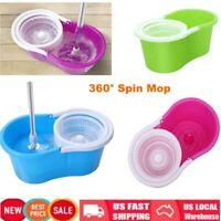 Blue 360° Easy Clean Floor Mop Bucket 2 Heads Microfiber Spin Rotating Head US