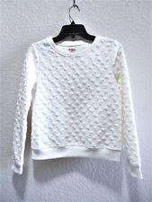 Girls Size L 14 Clothes White 3D Heart Sweatshirt Long Sleeve Top NWT $32 Bonge