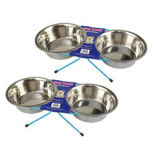 Dog Bowl Double Diner Feeder Food Water Dish Small Large Raised Cat Pet Rabbit 1 of Each Size