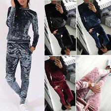 Damen Nickianzug Samt Hausanzug Jacke Hose 2 Teile Loungwear Set Trainingsanzug