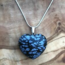 "Snowflake Obsidian Crystal Heart Pendant 25mm with 20"" Silver Necklace Grounding"