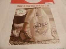 Nip Hazel & Ruby Layered Gold Foil Iron On Tote 4Pcs Canvas Bag, Iron On Design+