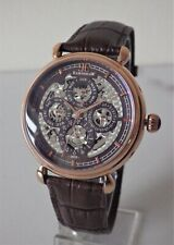 Thomas Earnshaw Mens Automatic Skeleton Grand Calendar Leather Watch RRP £390
