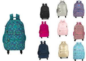 On Wheels Canvas Backpack Rucksack Trolley School Travel Laptop Bag Women Men