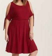 d0f8aa5d0ef Torrid Red Cold Shoulder Jersey Skater Dress 2x 18 20  64725