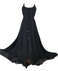 Maxi Gothic Dress Corset Pagan Embroidered Black Size 8 10 12 14 16 18 20 22 24