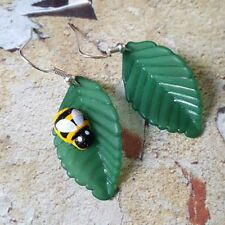 Unique BEE & ROSE LEAF EARRINGS handmade NATURE miniature INSECT garden CUTE