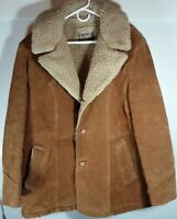 Vtg Cresco Outerwear Tan Leather Shearling L/S Button Down Men's Jacket Sz 46!