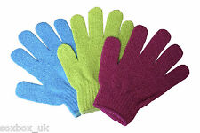 3 Pairs Plain Exfoliating Scrub Gloves One Size Assorted Colours Pack - Pack D