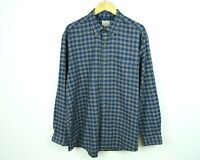 L L BEAN Cotton Men's L Flannel Shirt Casual Checked Blue Plaid Navy Tartan VTG