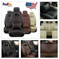 US Full Set 5Pc Car Seat Cover Front+Rear Cushion 100% PU Leather W/4pc Pillows