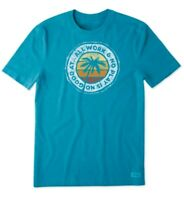 Life is Good Mens Crusher Tee Beach Play T Shirt Seaport Blue Med M Large L NWT