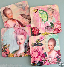 Marie Antoinette, set of 4 cork backed coaster set, with 4 unique designs