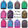 "Canvas 16"" BACKPACK 2-Pocket Girls/Boys School Book Bag Toddler Preschool Kids"