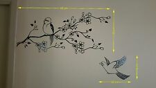 sticker branche fleurie avec oiseaux