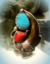 navajo indianer ring handmade by leeann lee sterling koralle türkis und klaue