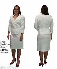 LE SUIT $200 NEW Boboli Gardens Vanilla Ice Ruffle Collar Skirt Suit Set 14 QCO