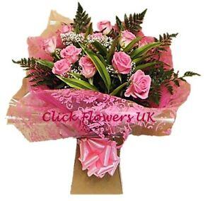 FRESH FLOWERS Delivered UK Pink Rose Bouquet Free Flower Delivery