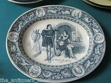 "1880 century blue/gray ""De Bracy & Rowena"" 10 3/4"" oval platter by Wedgwood[170]"