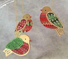 Glitter Fretwork Wood Bird Decoration Christmas Gisela Graham Vintage Retro