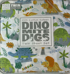 Dino Mite Digs 3 Pc.Twin Sheet Set Colorful Dinosaurs Cotton Sateen  White/Mult