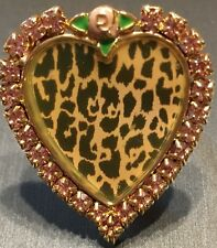 Betsey Johnson Vintage Rare Tea Party Pink Rhinestone Leopard Heart Ring~Sz 7