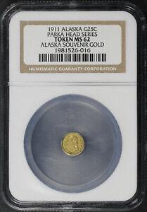 1911 Alaska Souvenir Gold Token 25C Parka Head NGC MS62
