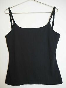 Mexx Black Vintage 00s Y2K Female Sleeveless Cami Top Sequins Open Back Size M
