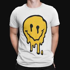 Melting Smiley Face T-Shirt - Retro - Trippy - Festival - Rave - Music - Drugs