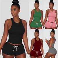 2PCS Womens Workout Elastic Tracksuit Fitness Gym Yoga Sports Top& Shorts Pants