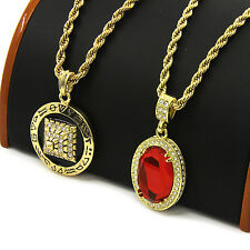 "Mens Gold Pyramid & Red Ruby Cz Bundle Set Pendant Hip Hop 30"" Rope Chain D910"