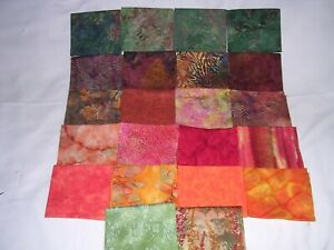 715J Cotton BATIK Quilt Shop Quality Fabric 20 FQ+2 Half YDS Orange Green Brown