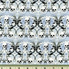 By Yard-Regent Skull Halloween Knifty knit fabric Alexander Henry N8446A Blue