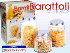 Set 3 Tris Barattoli Con Coperchio Vetro Cucina Contenitori Pasta Biscotti moc