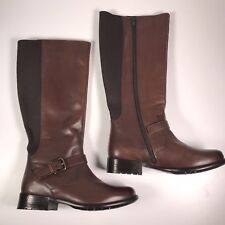 Clarks Women's 6M Brown Leather Buckle Tall Riding Boots 16326 Full Zip EUC