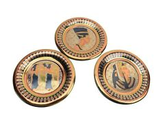 Lot of 3 Vintage Egyptian Ornate Style Brass & Copper Metal Plate Wall Hanging