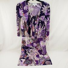Women's Dress Barn Knitted Dress 3/4 Sleeve Purple Floral Knee Length Size 8 New