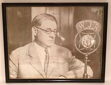 Antique Framed Black & White Picture Detroit Wjr Radio Announcer At Microphone