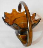 Vintage Murano hand blown Art Glass Center Piece Swan Basket Bowl DEEP AMBER