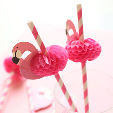 Lots 10Pc 3D Flamingo Pink Cocktail Paper Umbrella Drinking Straws Party Decor
