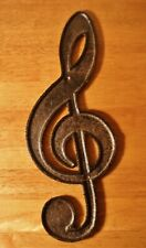 Cast Iron Treble Clef Metal Wall Sculpture Sign Musical Notes Music Room Decor