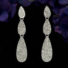 Rhodium Plated Clear Crystal Rhinestone Chandelier Drop Dangle Earrings 06103