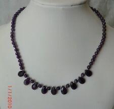 Wunderschönes Damen-Collier Halskette Amethyst, L. 45 cm, Tropfen, 925, NEU