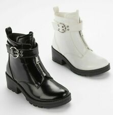 WOMENS WHITE BLACK ZIP ANKLE BOOTS CHUNKY SOLE BOOTS PARTY WOMEN SHOES SIZE 3-8