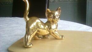 Solid brass cat figure ornament 5 inch tall