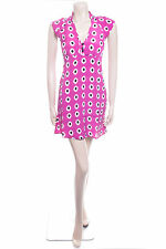 New Ladies Carbon Size 10 Purple Spot Pretty Floaty Summer Dress Bold Pattern