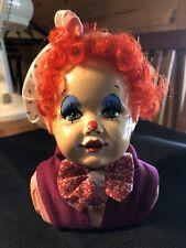 Clown Bust Figurine Child Ceramic/Porcelain? Cloth.
