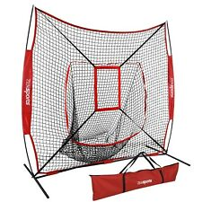 7'x7' Baseball Softball Practice Net Teeball Pitching Training Aid w/Strike Zone